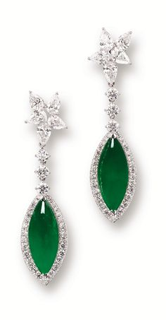 JADEITE AND DIAMOND EARRINGS (Sotheby's)