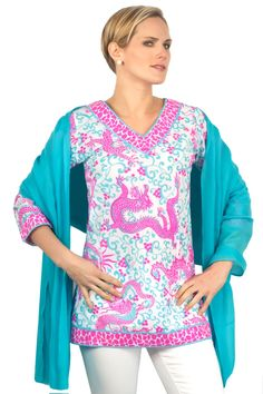 Classic Cotton V-Neck - Dancing Dragons in Turquoise/Fuchsia