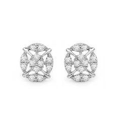 0.35 Carat Genuine White Diamond 14K White Gold Earrings (G-H Color, SI1-SI2 Clarity)