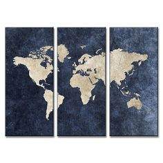 3 Pieces Multi Panel Modern Home Decor Framed Blue World Map Wall Canvas Art - Octo Treasures - 2 World Map Painting, World Map Canvas, World Map Wall, Framed Maps, Framed Wall Art, Canvas Wall Art, Canvas Prints, Blue Canvas, Framed Canvas