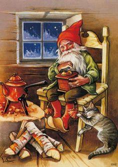 "Photo from album ""Lars Carlsson"" on Yandex. Swedish Christmas, Christmas Gnome, Christmas Art, Beautiful Christmas, Illustration Noel, Christmas Illustration, Illustrations, Vintage Christmas Cards, Christmas Pictures"