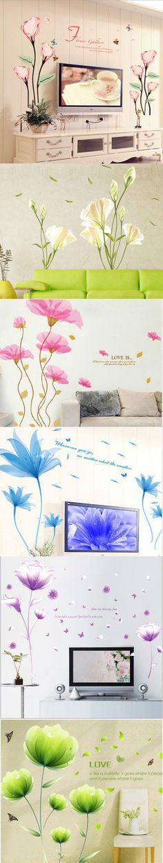 Warm Romantic Lily Tulip Flower Wall Stickers DIY Living Room TV/Sofa Background Home Decor Mural Deca $4.59