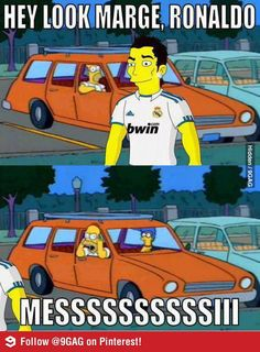 Homer Trolling Ronaldo by Shouting for Messi