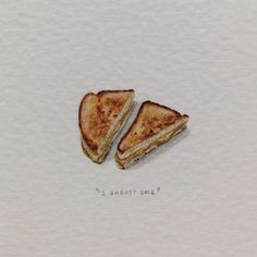 Day 214 : The Grilled Cheese Club works like this : Tweet your order to @CheesyHeaven before 11am, and they deliver oozy cheesy goodness to your desk for lunch. I think it's the most genius thing ever to happen to Woodstock.  23 x 27 mm. #365postcardsforants #wdc624 #miniature #watercolour #grilledcheeseforants #grilledcheese #favourite (at Cape Town Woodstock)