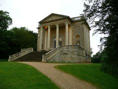 The Queen's Temple, Stowe. Originally built during 1742-48 and was then reworked in neoclassical style in the 1770s, when its south front acquired an imposing 3-bay Corinthian portico and the north front a projecting pedimented centre with curved Ionic portico. The interior was remodeled in 1790 by Vincenzo Valdrè. The floor has a Roman tesselated pavement moved from Foscott 1839-40. Grade I. I carried out the paint analysis - http://patrickbaty.co.uk/2010/10/20/stowe-buckinghamshire/