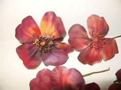 "3 Vintage Millinery Flowers 4"" Sangria Red Maroon Pansy Poppy . $ 9.00, via Etsy."