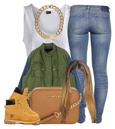 """"""""""" by trillest-princess101 ❤ liked on Polyvore featuring Pieces, Alex and Chloe, Michael Kors and Timberland"""