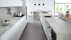 Ceasarstone - Airy Concrete Bench-top & Splash-back with light grey cabinets Fresh Concrete Caesarstone, Concrete Kitchen, Concrete Bench, Raised Kitchen Island, Kitchen Benches, White Oak Kitchen, Light Grey Kitchens, Kitchen Worktop, Kitchen Countertops