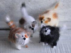 Four Amusing cats Art Sculpture Animal  Handmade by OlgaMareeva, $218.00