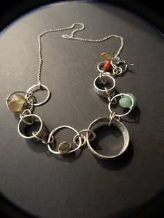 Sterling silver link necklace with semi precious gem stones on Etsy, $222.63
