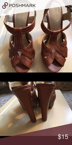 Brown sandals Never worn outside. 10 day sale and will be donated if not sold by 11 /20. Sold as is and price is firm. Nonsmoking home. LC Lauren Conrad Shoes Sandals