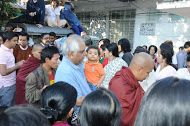 SN Goenkaji & Mataji during Daana to Monks during Burma Yatra Dec 2012