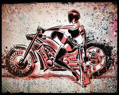 Motorcycle Girl Gun Print. wall art art print bike woman female blaster helmet visor wheels chopper harley harleydavidson harley davidson