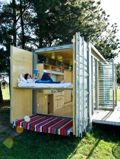 How cool would this be on the beach? Shipping Container Architecture: Portable shipping container holiday home, New Zealand Shipping Crate Homes, Shipping Crates, Shipping Container Homes, Shipping Containers, Container Buildings, Container Architecture, Architecture Design, Portable House, Tiny House