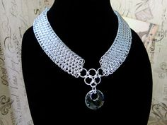 Crystal and Silver Dragonscale Chainmaille by AlycenMaille on Etsy, $100.00
