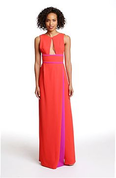 BCBGMAXAZRIA Colorblock Front Cutout Crepe Gown | Nordstrom