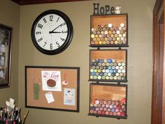 She used old drawers to make shelves for her craft paints. Brilliant!! #craftroom