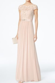 Adrianna Papell Blush Cap Sleeve Lace Illusion A Line Gown Dress | Poshare