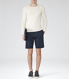 Wicker Navy Tailored Chino Shorts - REISS