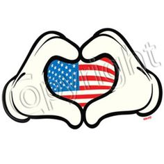 Mickey Mouse hands with American Flag design! perfect on shirts or tank tops!