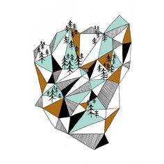 Depeapa A4 Geometric mountain print - Lounge & Living