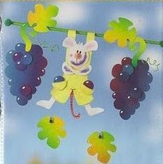 mouse with grapes - autumn paper craft pattern