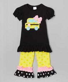 Look at this #zulilyfind! Black & Yellow School Bus Tunic & Pants - Infant, Toddler & Girls #zulilyfinds