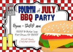 BBQ Invitations Fourth of July Adult Birthday by M2MPartyDesigns