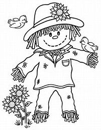 Cute Scarecrow Coloring Page Scarecrows Worksheets and Embroidery