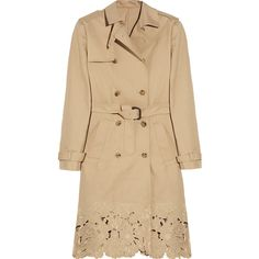 Valentino Embroidered cotton-gabardine trench coat ($1,222) found on Polyvore