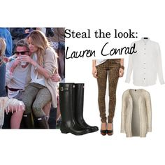 I love how Lauren Conrad toned her wild leopard jeans down by pairing them with a white button-down shirt and cozy beige cardigan. Her Hunter wellington boots also add a classic touch, making this outfit the perfect compromise between bold and classic.