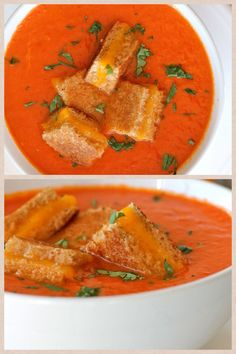 meatless monday - cream of tomato soup with grilled cheese croutons www.sweetdreamsprettythings.blogspot.co.uk