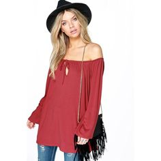 Boohoo Ruby Off The Shoulder Smock Tie Top ($20) ❤ liked on Polyvore featuring tops, chestnut, off shoulder long sleeve top, red off the shoulder top, crop top, off shoulder tops and off shoulder crop top