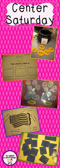 Center Saturday Ideas... addition, writing, sorting, and US Symbols... grab a center idea here!