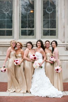 Gold Bridesmaids Dresses | photography by http://www.megan-w.com/blog/