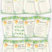 Printable Safari Jungle Baby Shower Games Pack, Instant Download. When you order this item, you'll receive the download link immediately in your email. No waiting!