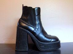 90s Black Platform Boots 1990s Platform Ankle by faroutofsight
