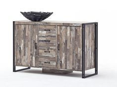 Kommode Java MCA Maracaibo Dekor Braun Holz & Metall 126 x 45 x 81 cm