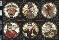 A4 sheet of die cut foiled card toppers from the Kanban Steampunk £1.50