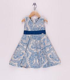 Vestido floral bege escuro e azul by For Kids