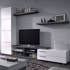 Amazing Wall Storage Items For Your Contemporary Living Room - Floating wall storage is a mixture of sensible storage and residential décor vogue the place the storage unit is mounted to the wall and is used to handle CDs and DVDs. Living Room Wall Units, Living Room Carpet, New Living Room, Interior Design Living Room, Living Room Furniture, Living Room Decor, Wall Storage, Grey Shelves, White Drawers