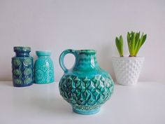 Vintage Vase Meeresfarben Bay petrol türkis 60er von ILoveSparrows auf DaWanda.com