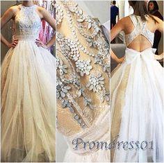 Modest prom dress, elegant white tulle sequins prom dress, long prom dress