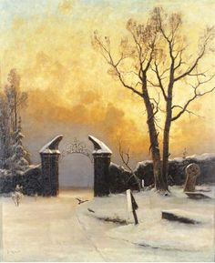 julius sergius von klever~Sunset over the Cemetery