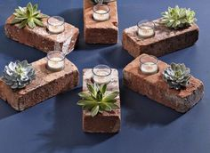 Succulent planters made from recycled bricks