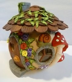 Fairy House Candle Holder Collectible OOAK by BingleBanglesbyDawn