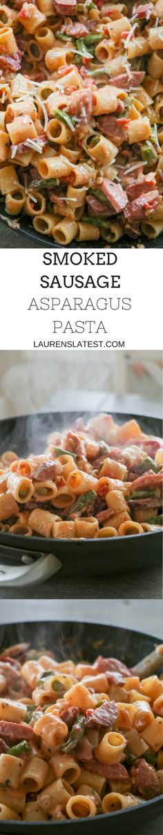 Smoked Sausage Asparagus Pasta is an easy 30 minute meal that is a family favorite dinner that will have you licking your plates clean! This supper is full of flavor with very few ingredients. Smoked sausages, asparagus, garlic onions and pasta tossed together in a creamy tomato sauce. It's as easy as that!
