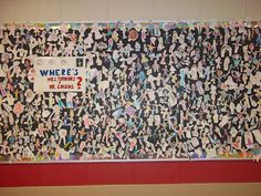 First day of the year activity-- self portrait> create Where's the Principal bulletin board.