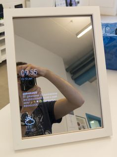 A small overview of what Smart Mirrors are, how to build one and what we created at Novoda! A small overview of what Smart Mirrors are, how to build one and what we created at Novoda! Smart Mirror Diy, Diy Mirror, Wall Mirror, Home Automation System, Smart Home Automation, Smart Spiegel, Palette Diy, Smart Home Technology, Digital Technology