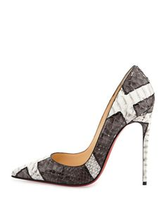 Christian Louboutin OFF!>> Christian Louboutin So Kate Python Red Sole Pump Gray/White Stilettos, High Heels, Pumps Heels, Crazy Shoes, Me Too Shoes, Mode Shoes, Cl Shoes, Court Shoes, Shoes 2015